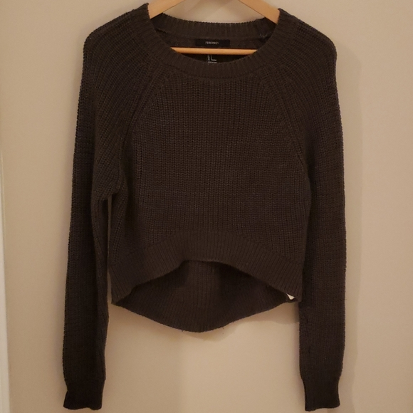 cropped hi-low sweater